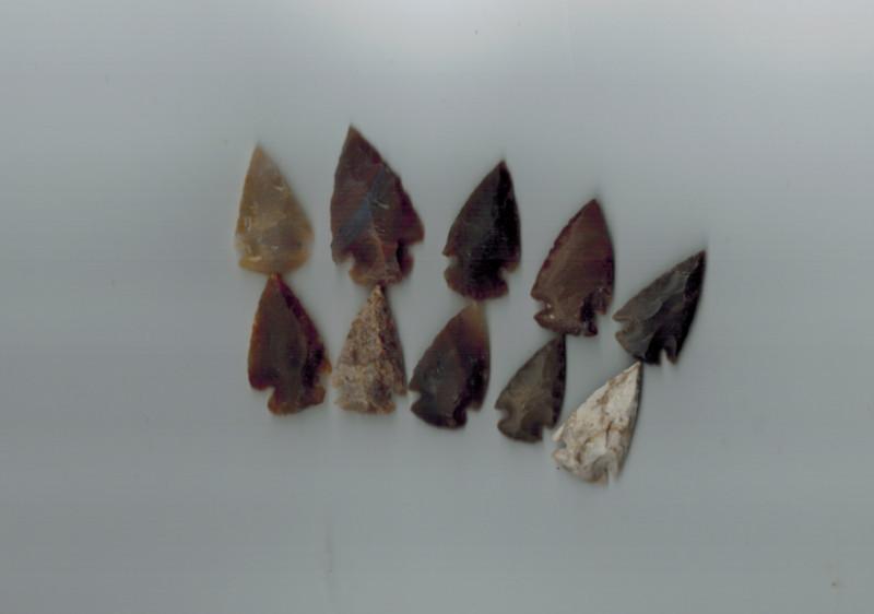 Steinpfeilspitzen klein, 10 Stück