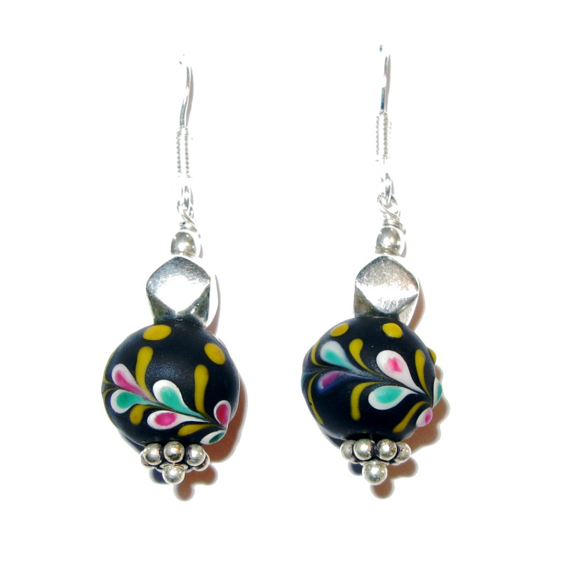 Ohrringe mit Floralbeads / Sterlingsilber