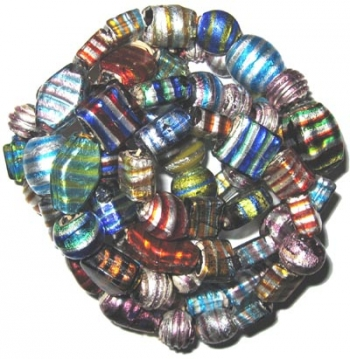 silberfolien beads mit muster / strang.   pm10
