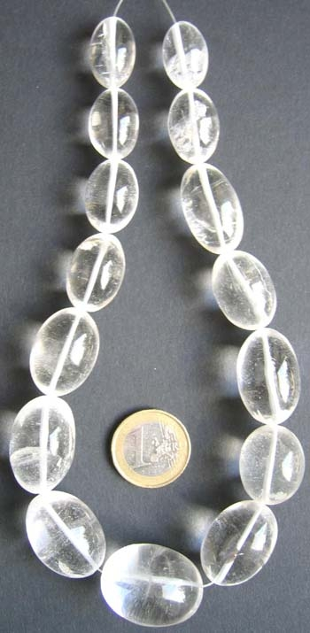 Bergkristallperlen, oval, 15st.