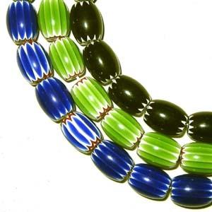 Chevronperlen schwarz / grün / blau 10x12mm - 5st.
