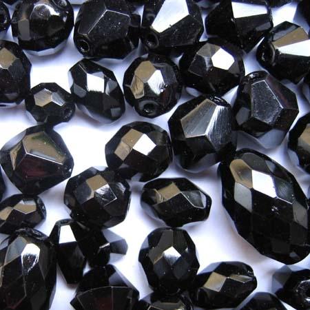 Glasperlenmischung, schwarz, 100g.