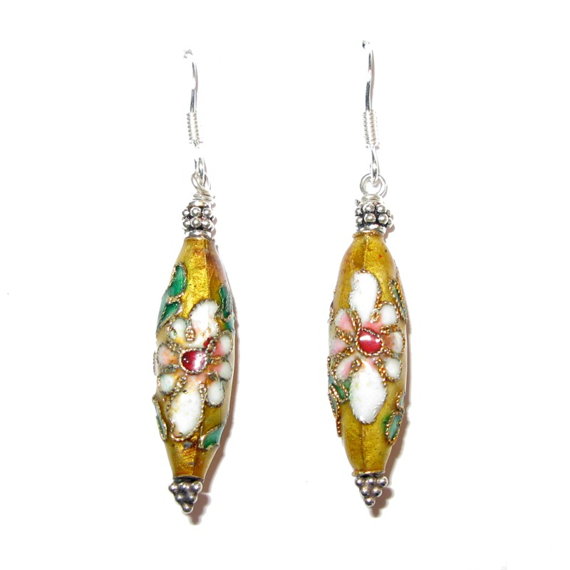 Ohrringe mit emaillierten Perlen mit Cloisonné / Sterlingsilber